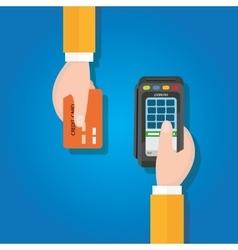 Pay merchant hands credit card flat vector