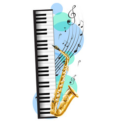 piano and saxophone with music notes in background vector image vector image