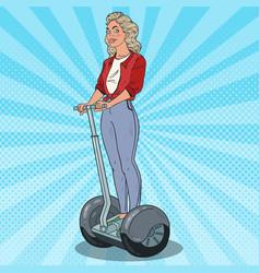 pop art beautiful woman riding segway vector image vector image