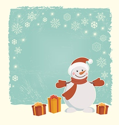 Retro christmas card with snowman vector