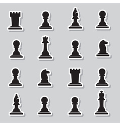 Set of black chess pieces stickers eps10 vector