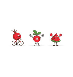 Set of fruits and vegetables doing sport vector