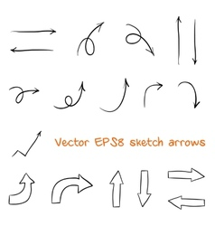 Set of sketched arrows vector image