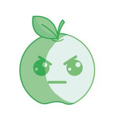 Silhouette kawaii nice angry apple fruit vector
