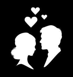 silhouette of couple in love eps 10 vector image