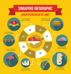 Singapore infographic concept flat style vector