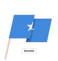 Somalia ribbon waving flag isolated on white vector