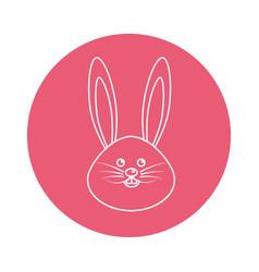 Sticker happy rabbit cartoon design vector