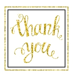 Thank you gold glittering lettering vector