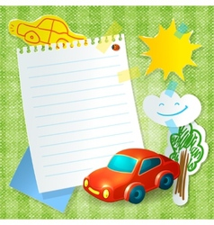 Toy car paper postcard template vector