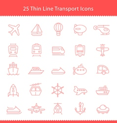 Transport icons Thinline Stroke vector image