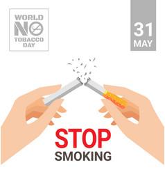 World no tobacco day for stop smoking concept vector