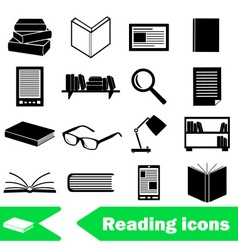 Reading books theme set of simple black icons vector