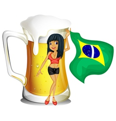 A big mug of beer with a brazilian lady vector image