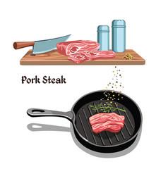 sketch meat steak cooking template vector image