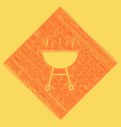 Barbecue simple sign  red scribble icon vector