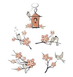 Spring birds vector image