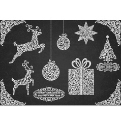 Christmas symbols hand drawn vector