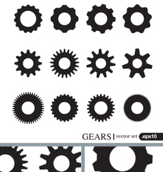 Gear icons design elements Gears Silhouettes set vector image