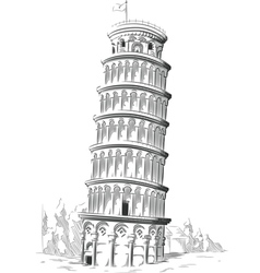 Sketch of italy landmark leaning tower of pisa vector
