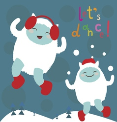 Cute dancing yeti characters vector