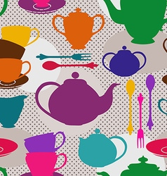 Seamless pattern of tea set vector