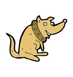 Comic cartoon happy dog in big collar vector