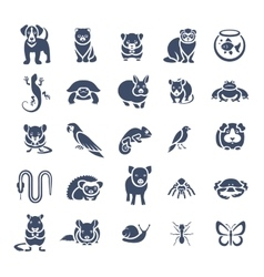 Animals pets flat silhouette icons set vector