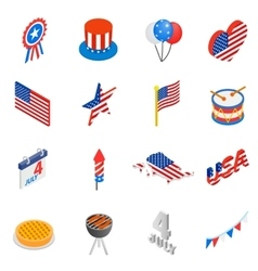 Independence day isometric 3d icons vector