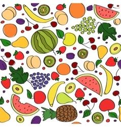 Seamless doodle cartoon pattern of summer vector image