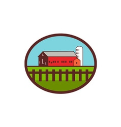 Farm Barn House Silo Oval Retro vector image