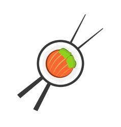 Sushi roll with chopsticks logo vector