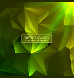 Abstract green low poly background with glowing vector