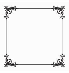 Black Twirl Frame on White Background vector image