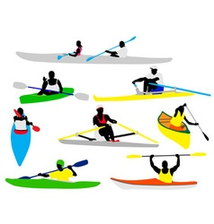 canooing and kayaking vs vector image vector image