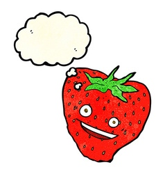 cartoon strawberry with thought bubble vector image vector image