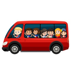 Children riding on red van vector