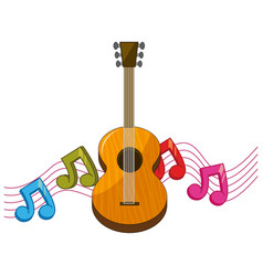 classic guitar with music notes in background vector image vector image