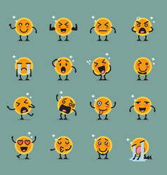 Coin character emoji set vector