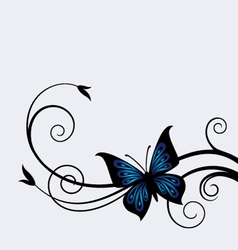 dark blue butterfly vector image