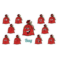 gift christmas bag emotions emoticons set isolated vector image vector image