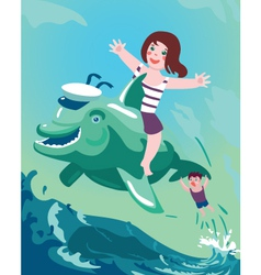girl and boy on the dolphin vector image vector image