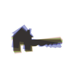 Home key sign colorful icon shaked with vector
