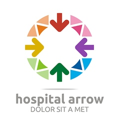 Hospital arrow circle colorful icon vector