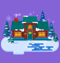 house in the winter evening christmas card flat vector image vector image