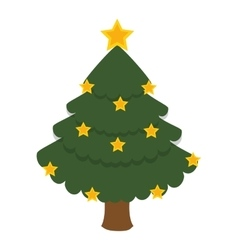Merry christmas tree isolated icon vector