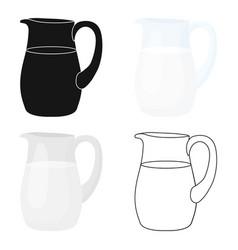 Milk jug icon cartoon single bio eco organic vector