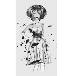 Model hand drawn pencil vector image