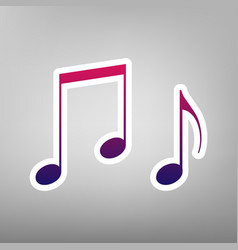 Music notes sign purple gradient icon on vector