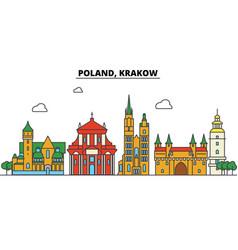 Poland krakow city skyline architecture vector